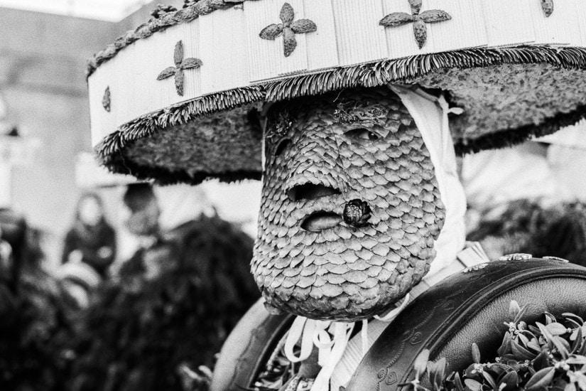 Nahaufnahme von Maske aus Tannenzapfenschuppen.