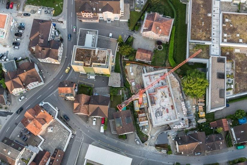 Luftaufnahmen aus einem Heissluftballon.