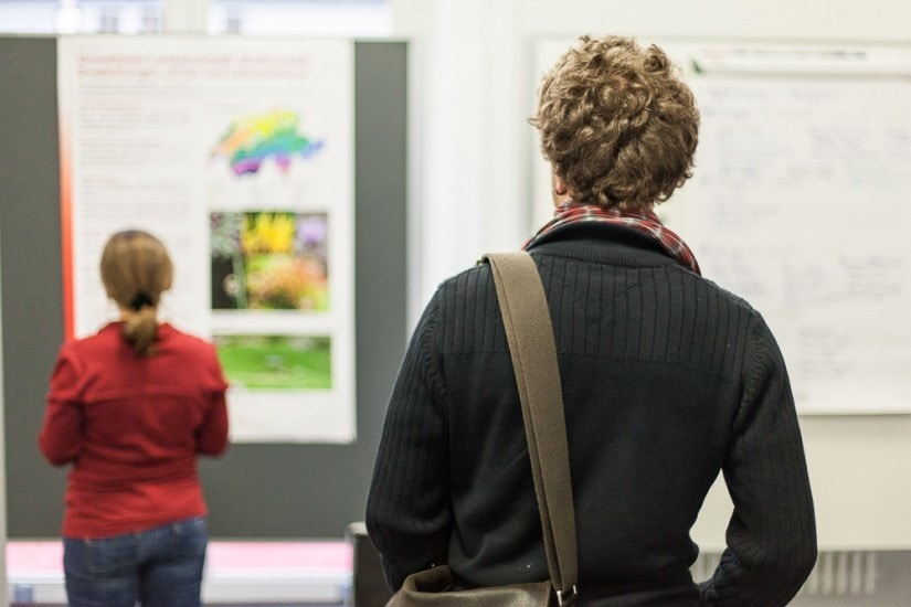 zwei Leute von hinten, welche ein Plakat betrachten.