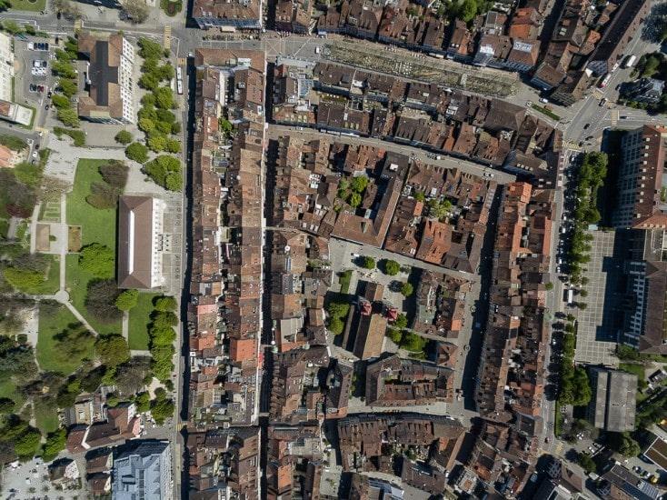 Drohnenaufnahmen über der Altstadt-Winterthur