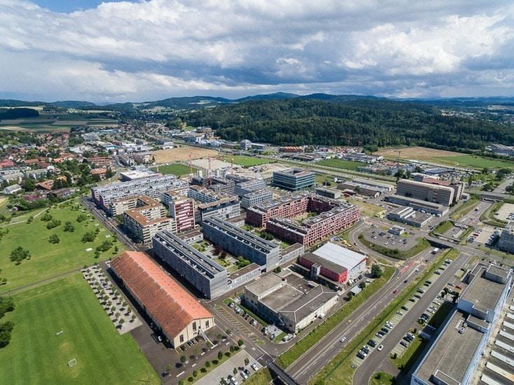 Drohnenaufnahmen von Baustelle in Winterthur Eulachpark