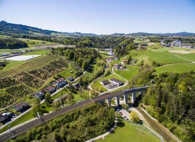 Bild aus der Luft mit Bahn- und Autobahnbrücke.