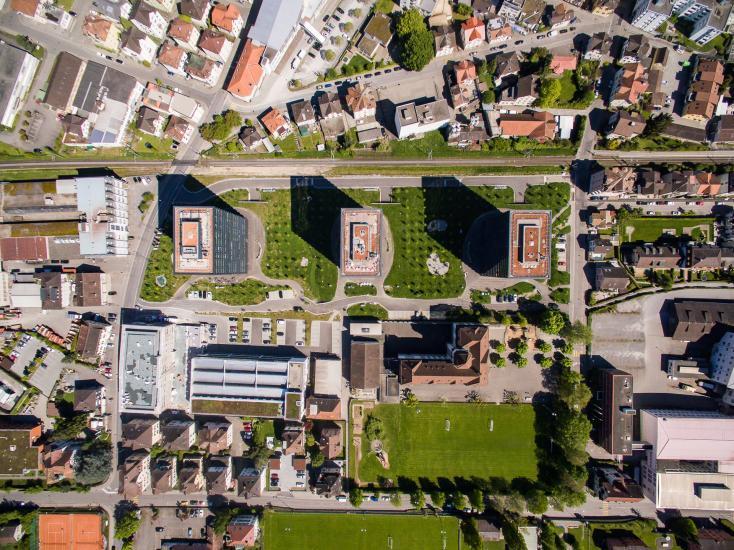 Luftaufnahme vom Stadtwald in Rorschach.