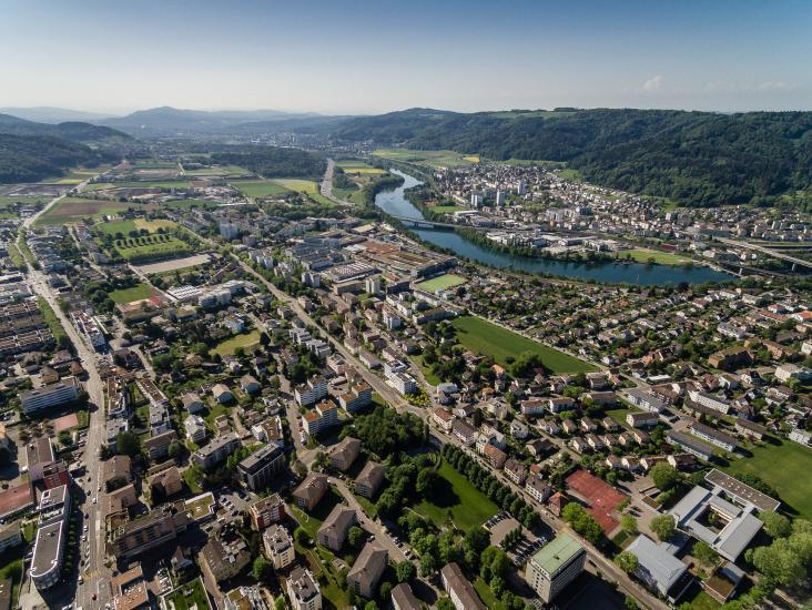 Luftaufnahme von Wettingen.