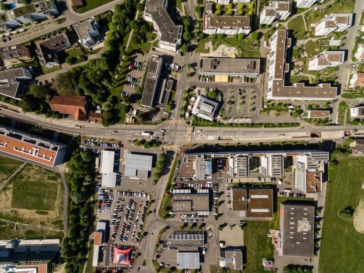 Luftaufnahme von Spreitenbach.