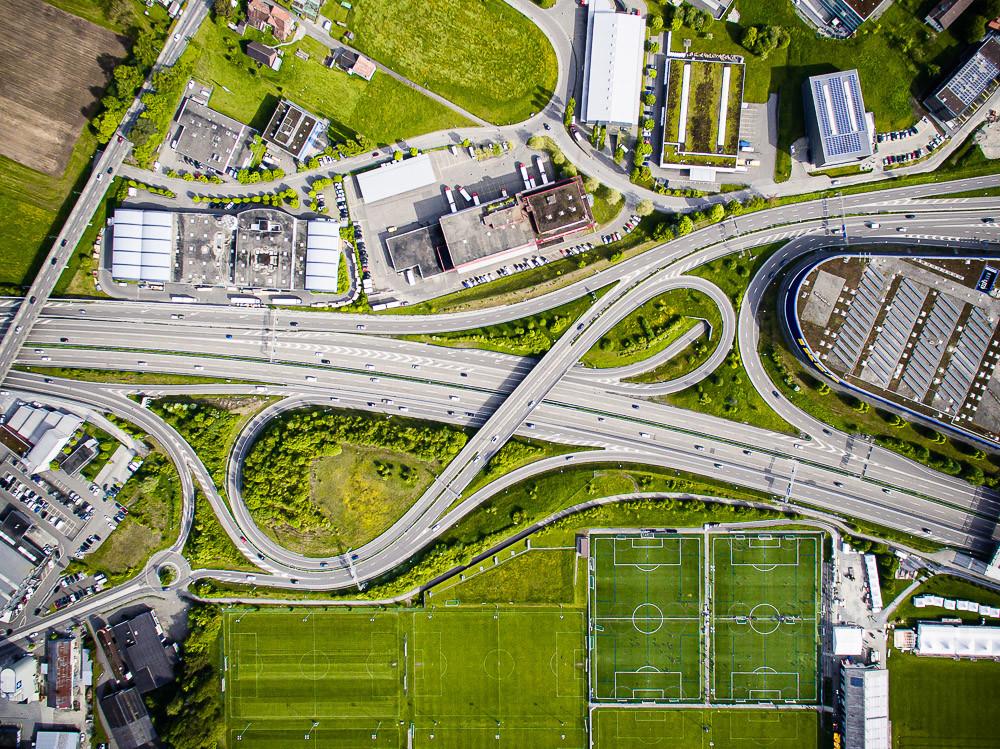 Drohnenaufnahme der Autobahnausfahrt St.Gallen-Winkeln