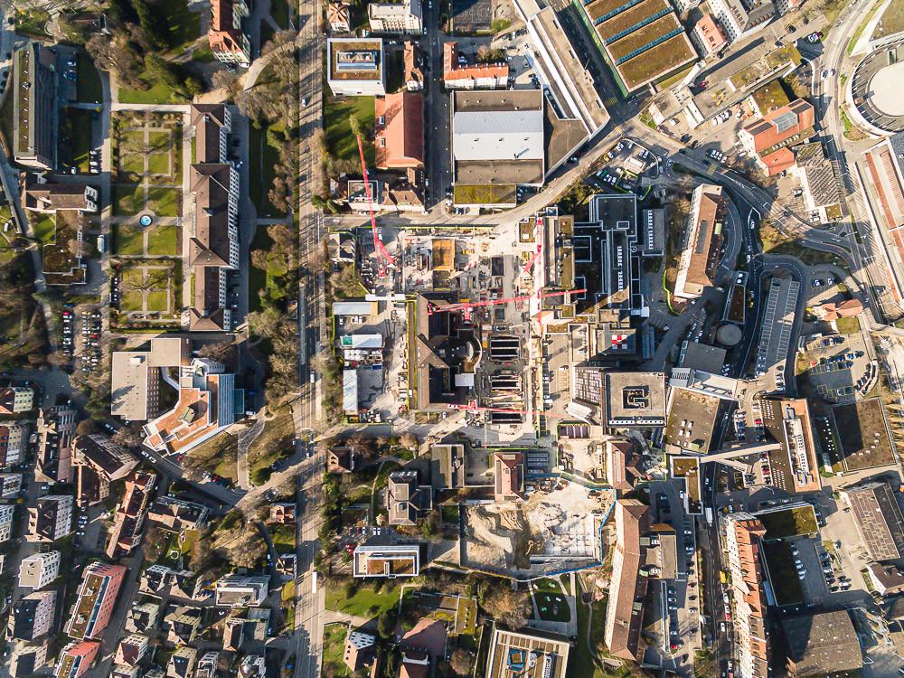 Drohnenaufnahme Baustelle Kantonsspital St.Gallen
