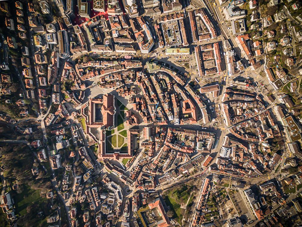 Drohnenaufnahme über der Altstadt von St.Gallen